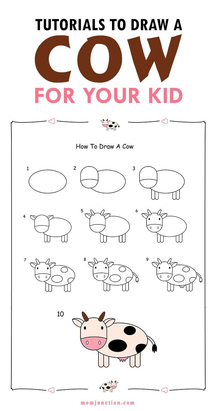 2 easy tutorials on how to draw a cow for kids - Cartoon Kid Drawings