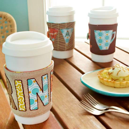 Brighten a friend's morning by giving them a personalized travel-mug cozie for Christmas. Use our pattern, available below, to get the size needed for a standard coffee travel mug. Cut letters or shapes from different patterns of fabric to embellish the cozie./