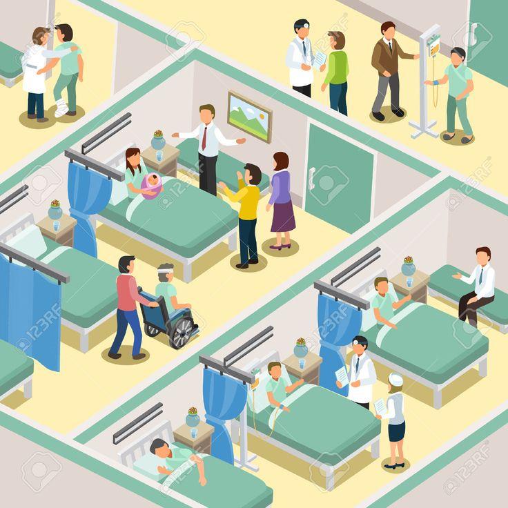 47857957-hospital-ward-interior-in-3d-isometric-flat-design-Stock-Photo.jpg (1300×1300)
