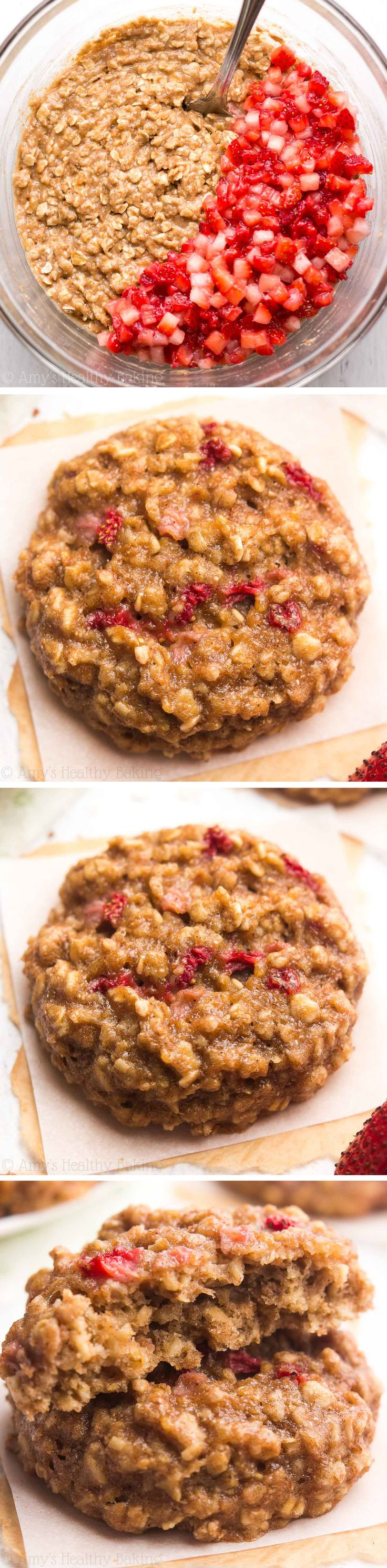 Clean-Eating Strawberry Banana Bread Oatmeal Cookies -- just 95 calories, but these skinny cookies don't taste healthy at all! You'll never need another oatmeal cookie recipe again! | healthy oatmeal cookies | chewy oatmeal cookies | easy healthy banana oatmeal cookies | healthy soft banana cookies