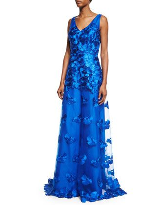 Sleeveless+Floral-Appliqué+A-Line+Gown,+Blue+by+David+Meister+at+Neiman+Marcus.