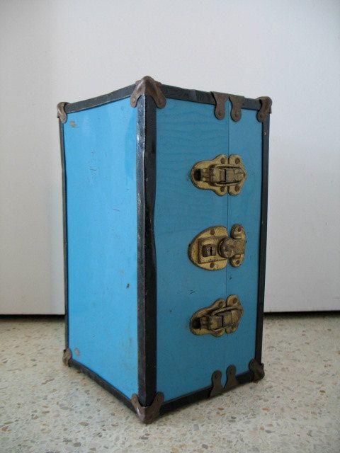 Vintage Blue Metal Small Steamer Trunk