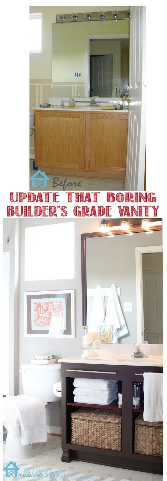 Get rid of the doors, install a shelf and towel rods to get a new looking vanity.