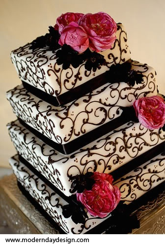 black and white square cake