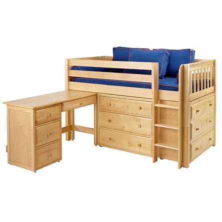 The Box Low Loft Bed with Dressers and Desk is a fun and functional loft for your child!