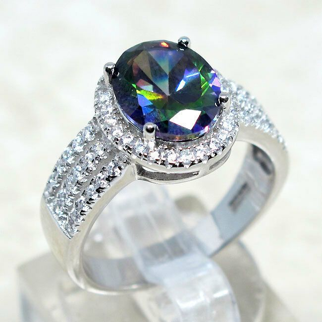 ATTRACTIVE 3 CT TOPAZ 925 STERLING SILVER RING SIZE 5-10
