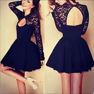 Short homecoming dress,long sleeve Homecoming Dress,high neck Homecoming…