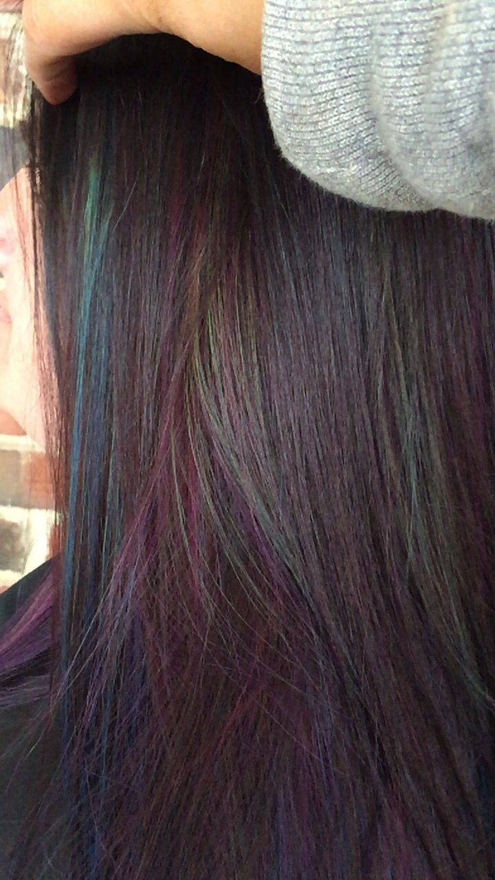 Oil slick hair by Nicole Totorello at beyond the fringe in Hillsborough nj