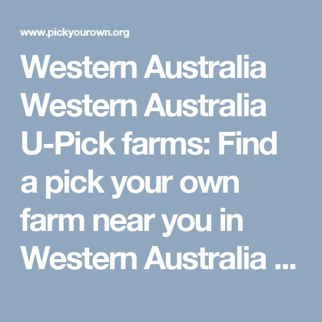 Western Australia Western Australia U-Pick farms: Find a pick your own farm near you in Western Australia for fruit, vegetables, pumpkins, organic foods,local produce and more!