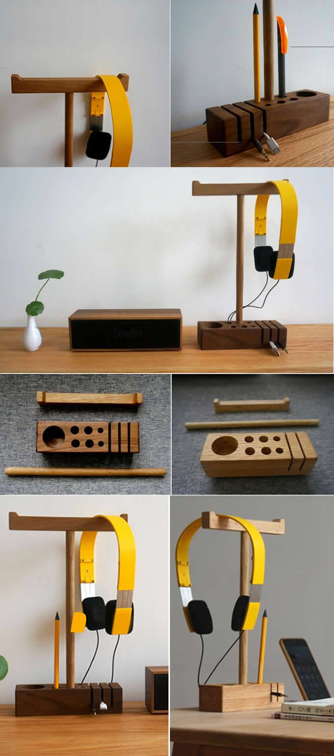 Wooden Headphone Headset Earphone Stand Holder Hanger  Holder  Wood Cord Cable Clip Holder Management System Headphone Earphone Wrap Winder Cord Organizer Manager  Pen Pencil Holder Stand