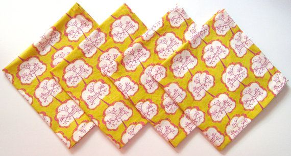 Cloth Napkins Set of 4 Orange Yellow Hot Pink by ClearSkyHome
