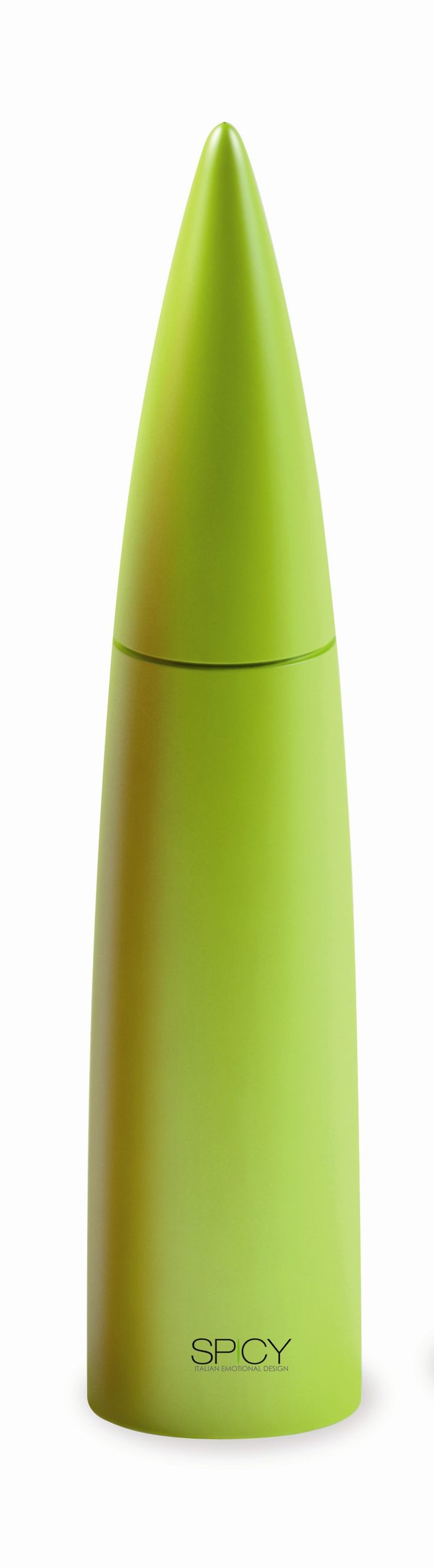"Spicy Piperis Salt/Peppermill – Green  Product Description  Peppermill with long-life ceramic mechanism. Also suitable to grind salt, spices and coffee. Soft-touch finish. Height:12.5″ Width: 2.5"" Hand wash recommended Designed by Federico Arquint"