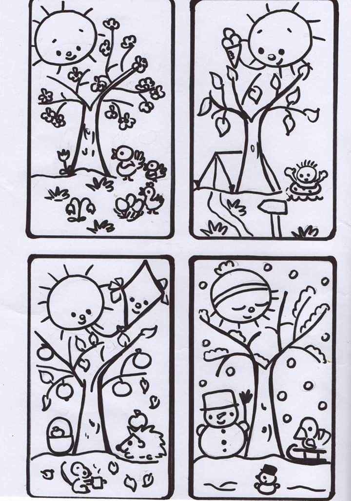 ausmalbild vier jahreszeiten  tiffanylovesbooks