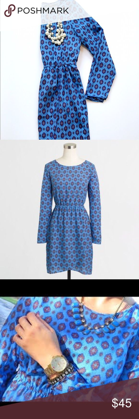 J. Crew Factory Tulip Hem Dress love this dress! Gorgeous medallion paisley print on an ever more gorgeous blue! Size tag has been cut out but I believe this dress is a 0 or XS. Materials tag is shown. J. Crew Dresses Midi