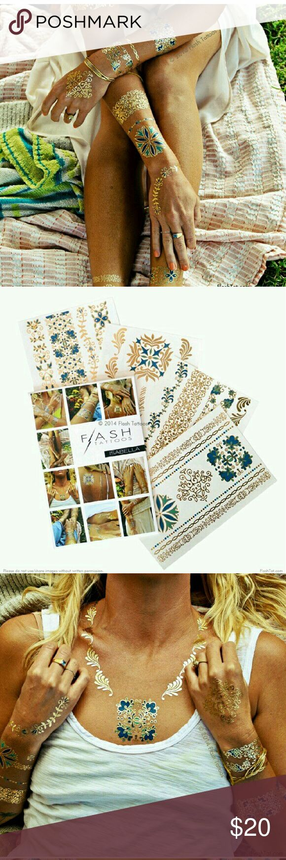 Isabella Flash Tattoos set The Isabella collection features of feminine mix of jewelry inspired designs in a bold blue, soft green, and gold hues inspired by the vibrant color palette of the Mediterranean. This listing is for one Isabella pack which includes four sheets with over 33-metallic tattoos. Flash Tattoo Other