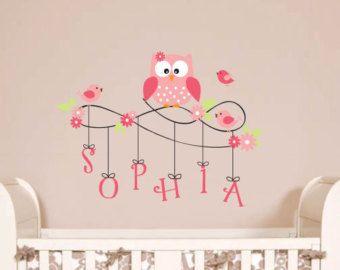 Chouette Wall Decal - monogramme personnalisé pour enfants Wall Decals - hibou et oiseau Stickers muraux de pépinière - vinyle lettrage sticker-