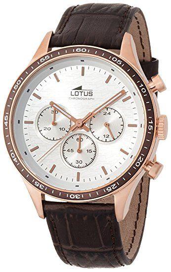 128e Lotus - 15966/1 - Montre Homme - Quartz - Analogique - Chronomètre - Aiguilles lumineuses - Bracelet cuir Marron