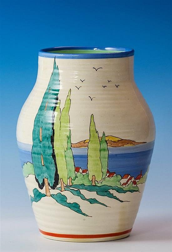 Clarice Cliff 'Clovelly' pattern Isis-shape vase ca 1937, [the ribbed moulded vase with honey glaze]