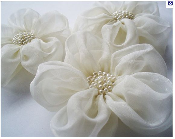Beaded organza flowers