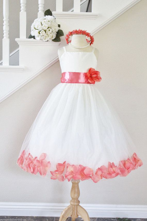 CORAL GUAVA Flower Girl Dresses Petal. WHITE Custom Color Spaghetti Strap. Wedding Easter Bridesmaid. For Baby Children Toddler Teen Girls