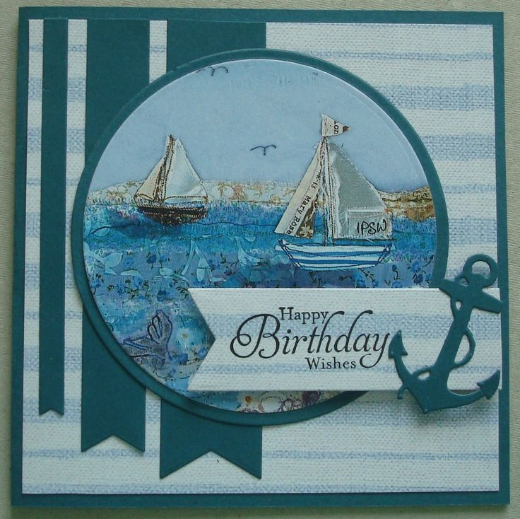 B082 Hand made birthday card using Halcyon Days. By Linda Fraser