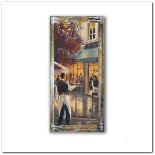 Párizsi kávézó és étterem fa táblaképen, párizsi hangulat fa faliképen