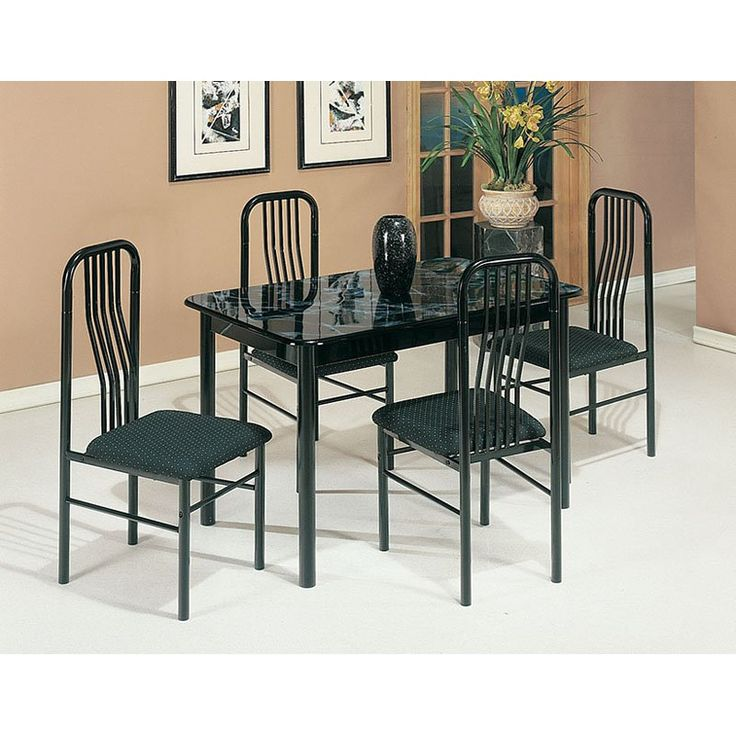 Acme Furniture Hudson 5 Piece Faux Marble Dining Table Set   Black   02406/7