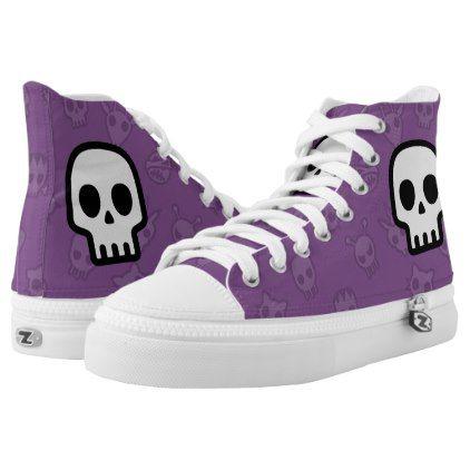 #Pastel goth purple emoji skull High-Top sneakers - #emoji #emojis #smiley #smilies