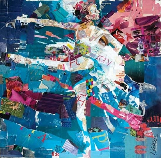 ballerina recycled magazine collage art by derek gores - Picture Collages