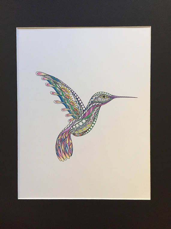 Gorgeous little hummer - Original Zentangle hummingbird drawing. Done in bright pastel colors. Whimsical suns on its wing. The hummingbird is shown with its wings up in flight. Drawn on white Bristol paper. ad