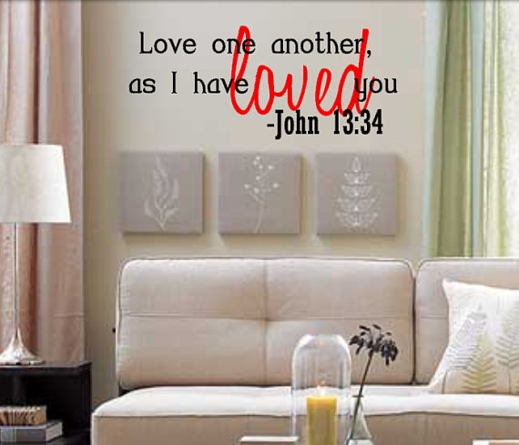 Bible Verse Vinyl Decal Wall Lettering by Angel Baby Vinyl via Etsy --- For behind TV on false wall; either Phillippians 4:13 (I can do all things through Him who gives me strength) or Colossians 3:12-17 (2nd reading from our wedding)...