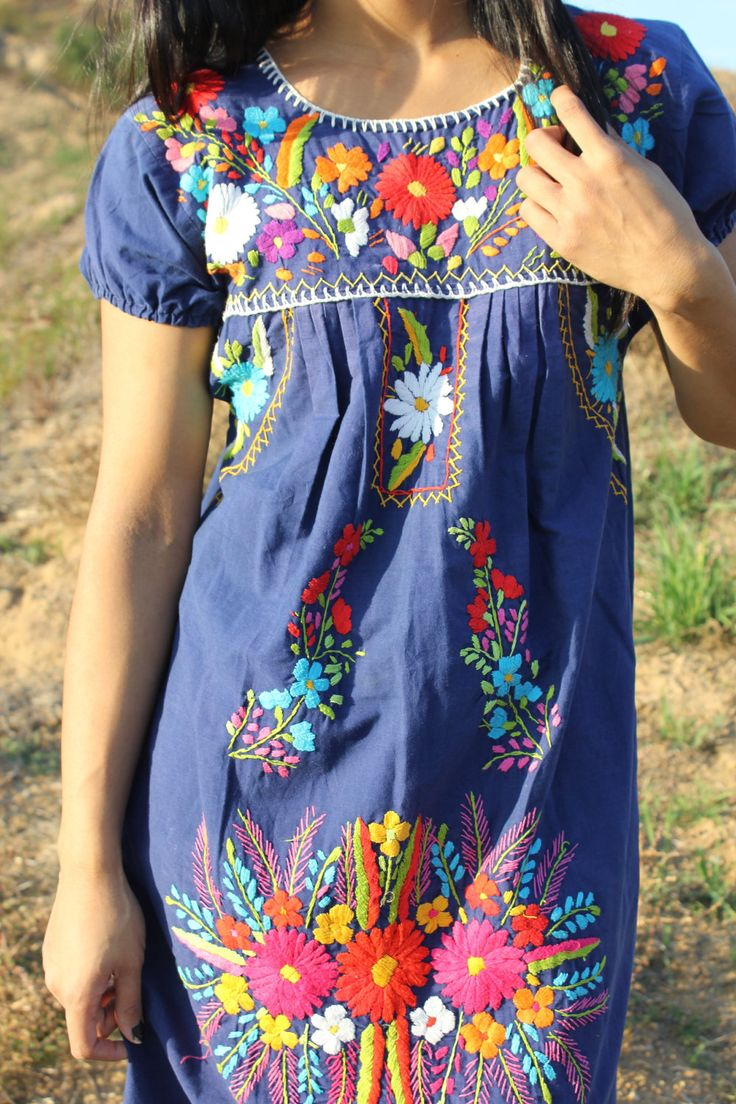 Navy Mexican Hand Embroidered Dress.