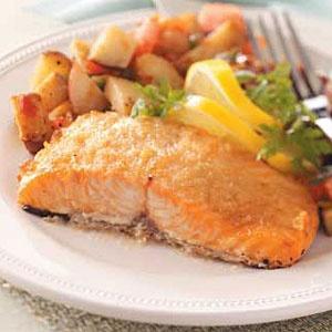 Baked horseradish lemon salmon: use wild salmon & coconut oil instead of butter.