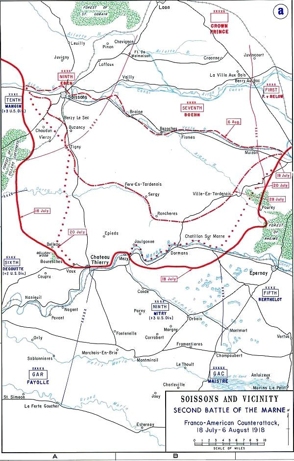 Map showing location of the Battle of Belleau Wood 1918