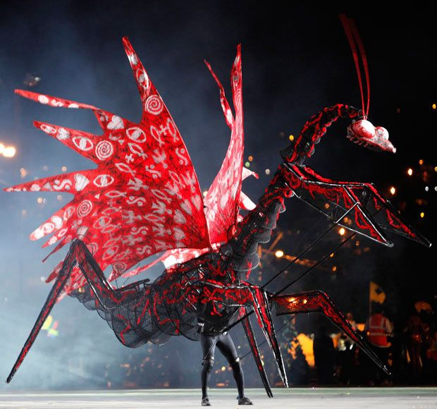 Gerard Weekes parades in a costume based on the theme - 'The Praying Mantis' during the preliminaries of the King & Qjueen of Carnival competition at Queens Park Savannah, Port ofSpain Trinidad & Tobago.