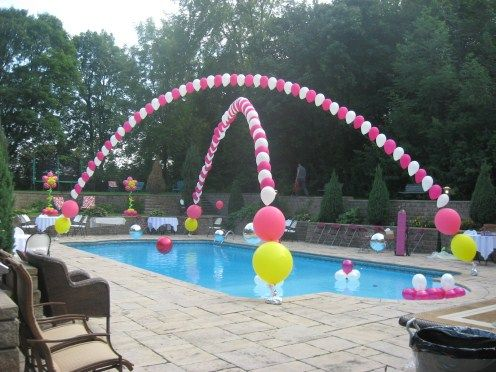 """Pretty spiffy""  as Mark, the owner, would say!! Don't you think? Attach helium filled balloons to fishing line and attach the fishing line to the ends of your pool!"
