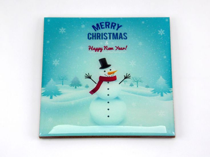 Snowman Christmas Happy New Year Drink Coaster Unique Gift MDF Wood by Osarix
