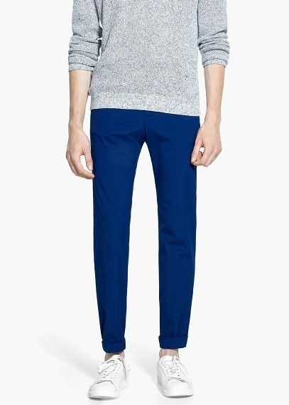 $29, Blue Chinos: Mango Cotton Chinos. Sold by Mango. Click for more info: https://lookastic.com/men/shop_items/312844/redirect