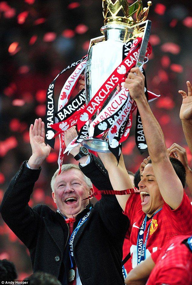 'Little Pea' lifts the Premier League trophy during Sir Alex Ferguson's final season in 2013