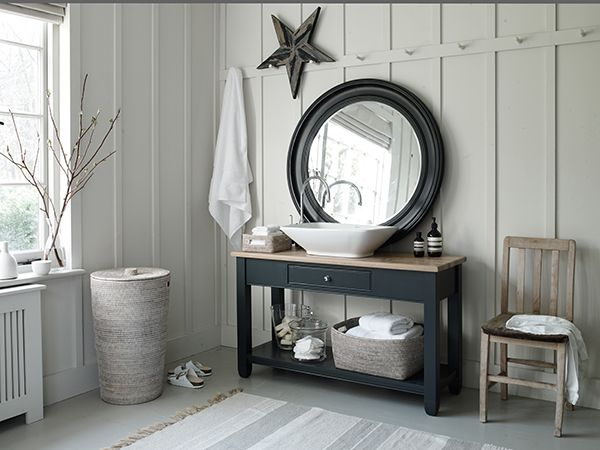 Chichester Washstand painted in Charcoal #bathroom #washstand #neptune www.neptune.com. Need a black star for my bathroom!