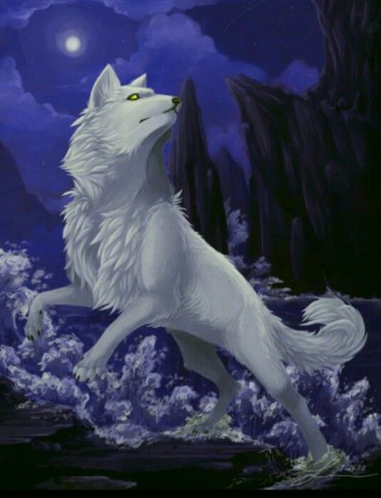 Yellow Anime Wolf White wolf with yellow...