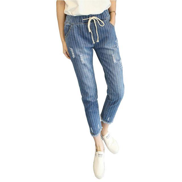 Çizgili Haren Kot Kadın Için Sonbahar Ayak Bileği Uzunluğu Pantolon Kadın elastik Bel 5XL Büyük Boy Denim Pantolon Rahat Femme Delikler pantolon