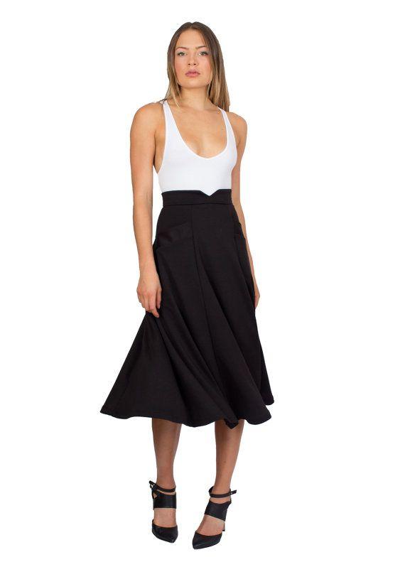 Black Midi Skirt Swing Skirt High Waist Skirt by TetianaKClothing