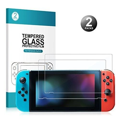 Nintendo Switch Tempered Glass Screen Protector - [2-Pack] Younik 0.25mm Anti-Scratch Full Coverage Glass Screen Protector for Nintendo Switch