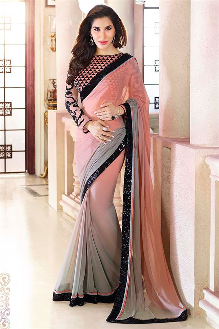 Sophie Choudry Grey And Peach Chiffon Party Wear Saree