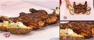 Κοτόπουλο μπάρμπεκιου - γεμιστές ψητές πατάτες
