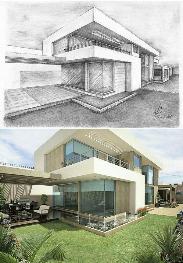 Epingle Par Una Hung Sur Dessins Divers Dessin Architecture Maison Architecte Moderne Croquis Maison