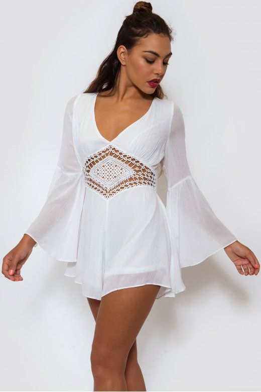 Gypsiana White Boho Playsuit