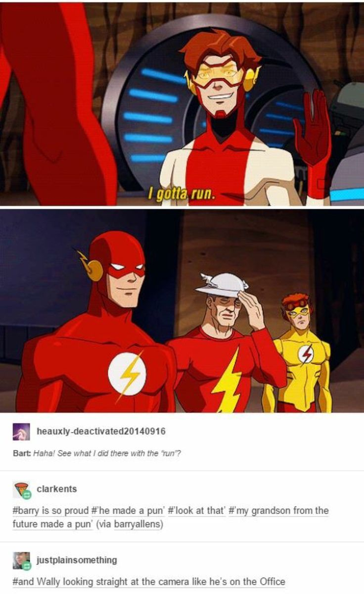 Barry (flash) seams proud Jay (tin hat) is probably think why have you done.Wally (kid flash) is just so disappointed in Barry I would be too we don't need another speedster with the same bad running put