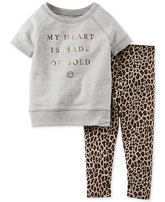 carter's baby girls' 2-piece top & animal-print leggings set - kids ...